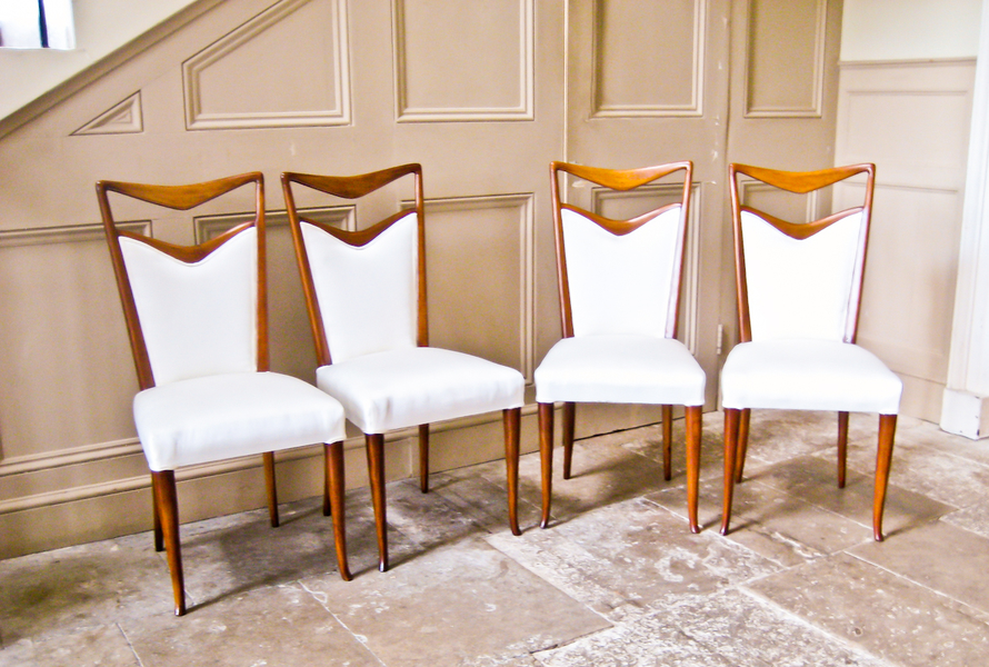 Set Of Four Dining Chairs By Carlo Di Carli In Walnut And Silk  Italian
