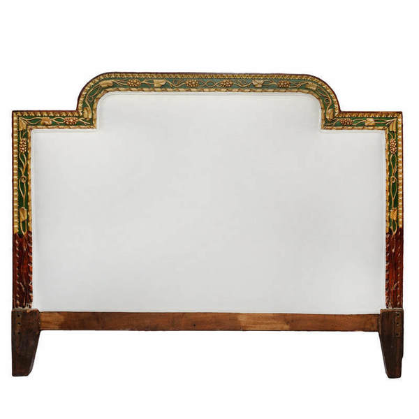 Italian Late 18th Century Carved Painted & Giltwood Bedhead Circa 1780