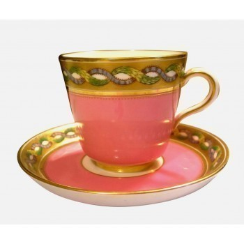 Antique Porcelain 19th Century Pink Tea Cup And Saucer