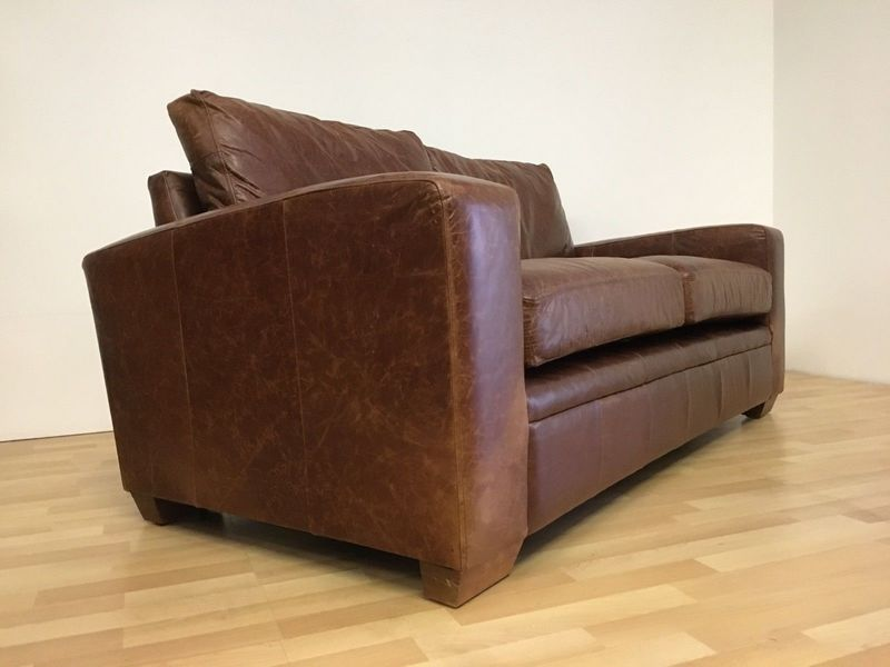 Vintage Tan Leather Rustic Club Two Seat Sofa Settee