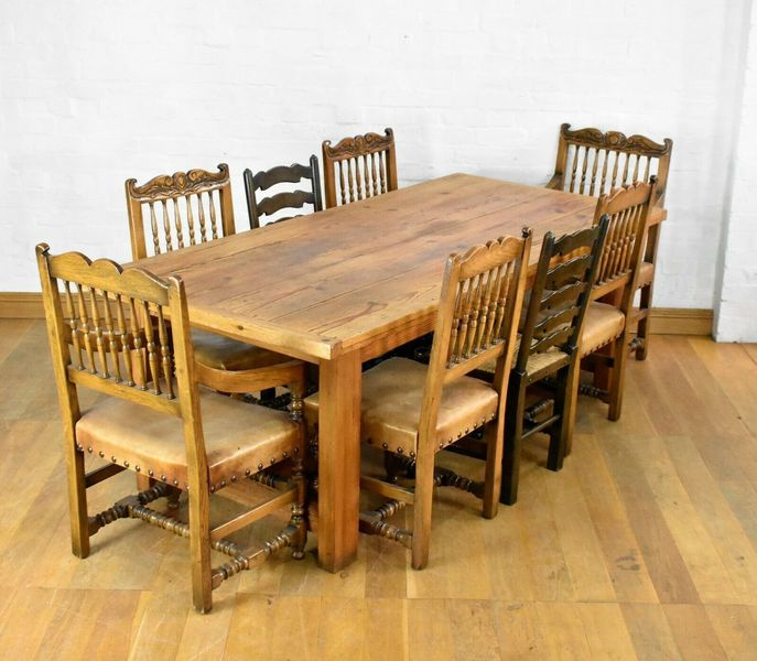 Large 8 Seater Pine Dining Table Rustic Farmhouse Kitchen Table Vinterior
