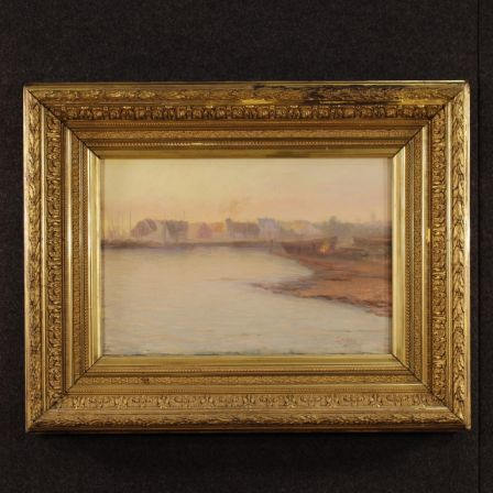 Antique Seascape With Characters Painting Signed And Dated From 19th Century