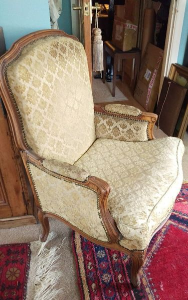 Luxury French Armchair Louis Xv Antique Gold Damask