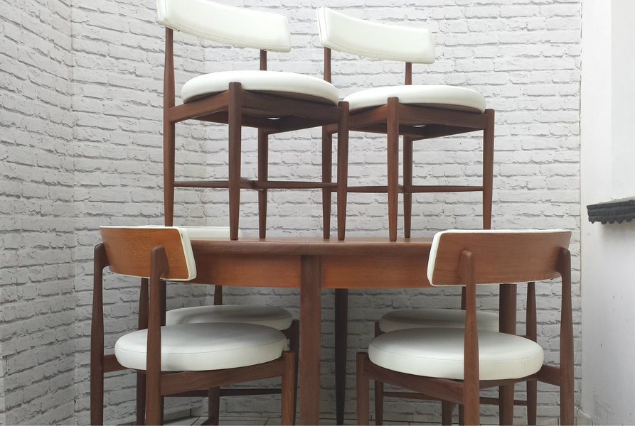 Mid Century G Plan Fresco Circular Extending Dining Table And Six Chairs Teak Vinyl 1960s To Seat 6