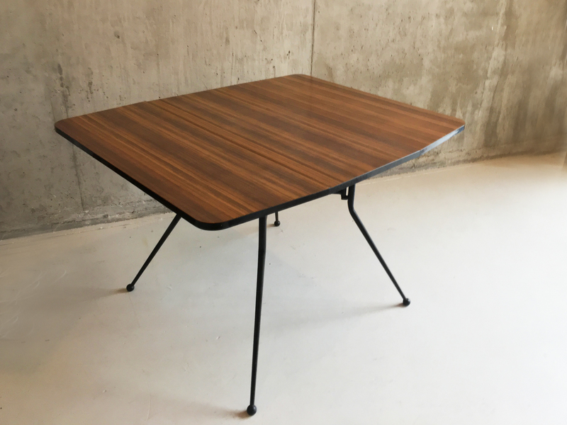 1960's Mid Century French Formica Topped Table With Flaps