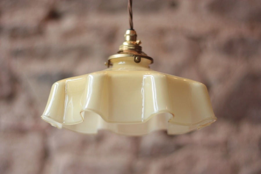 Vintage French Cream Opaline Pendant Light