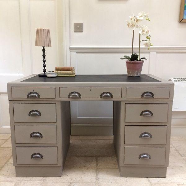 Antique Vintage Retro Mahogany Painted Grey Pedestal Kneehole Desk