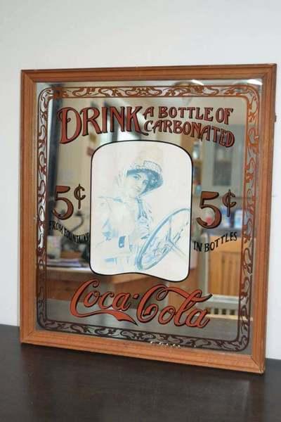 Vintage Coca Cola Avert Mirror In Wooden Frame