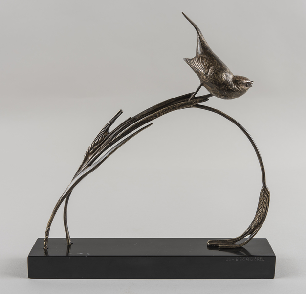 A French Art Deco Sculpture Of A Bird Set On A Black Marble Base. Signed Becquerel