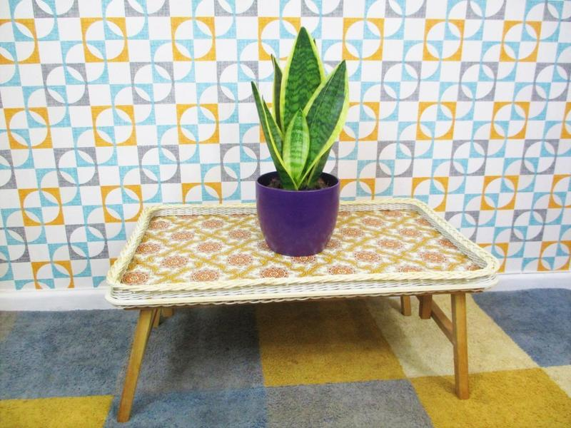 Vintage 60's Small Folding Floral Pattern Tea Tray Side Table Retro Mid Century