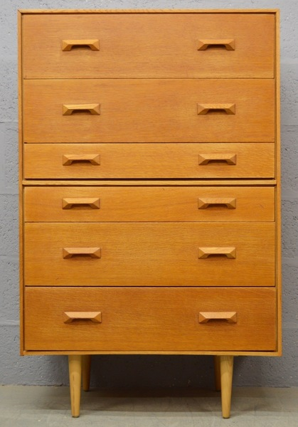 Mid Century Oak Tall Boy/Chest Of Drawers By John And Sylvia Reid For Stag