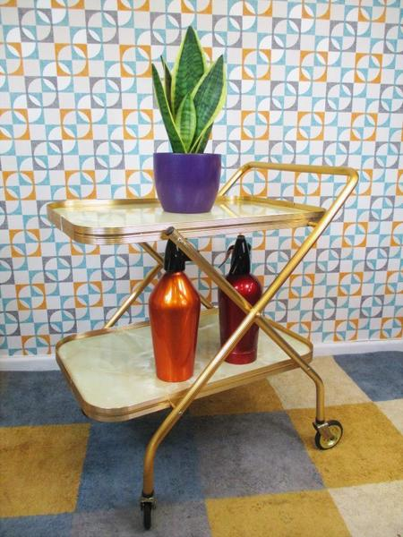 Vintage 70s Gold & Marble Formica 2 Tier Tea Trolley Hostess Drinks Cocktail Bar