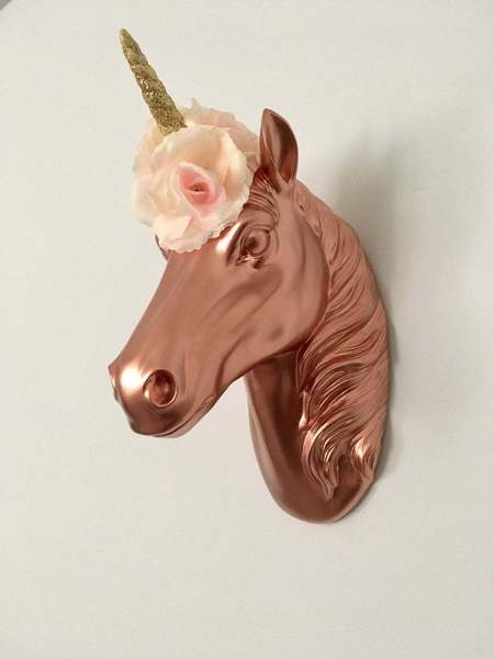 Rose Gold Unicorn Head Mount With Gold Glitter Staff And Pink Rose Head Crown   Unicorn Decor, Wall Mount Art.