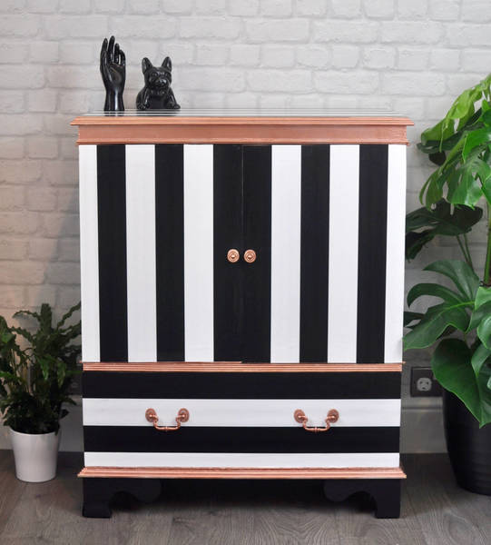 Upcycled Retro Vintage Tv Cabinet In Black & White Stripe, Rose Gold Tv Stand Media Unit