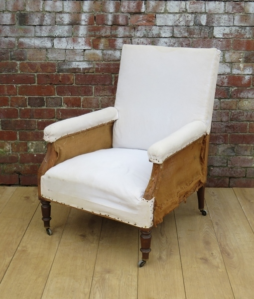 French Library Armchair For Re Upholstery