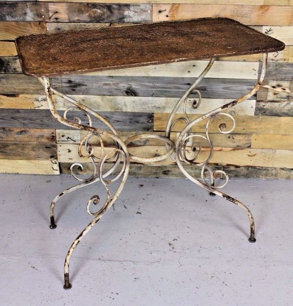 Vintage Antique French 1930's Wrought Iron Side Table / Garden Table