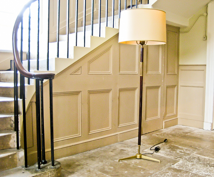 Floor Lamp In Mahogany And Brass