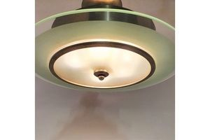 Thumb art deco glass and steel ceiling lamp 1920s 2 0
