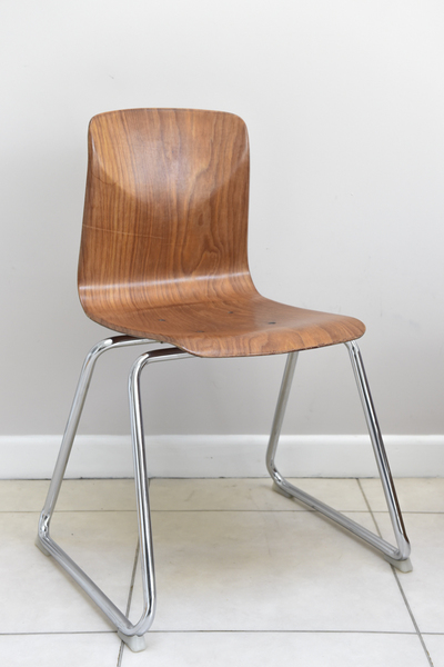 """West German Flötotto Pagholz Wood Chrome Industrial Stacking Chairs Mid Century Modern""""Thur Op Seat"""""""