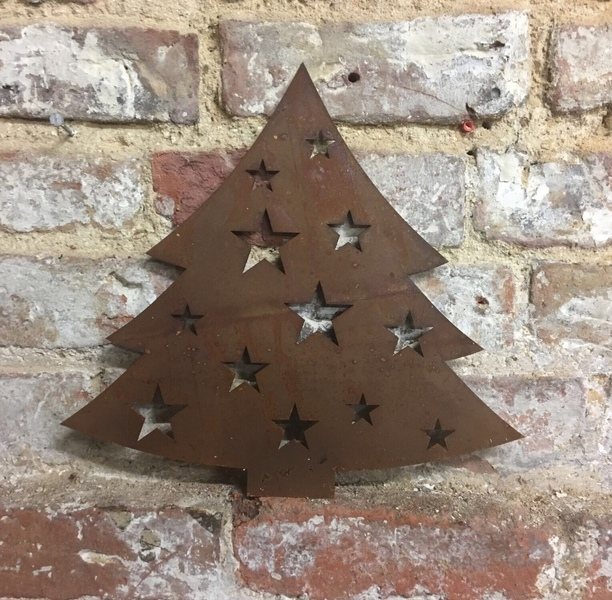 Rusty Christmas Tree Lettering Letters Sign Metal Shop Home Decoration Ornament Free Delivery
