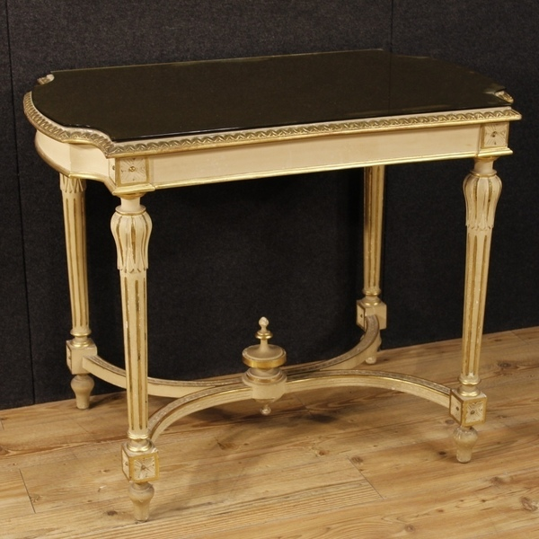 Italian Lacquered And Golden Side Table In Louis Xvi Style