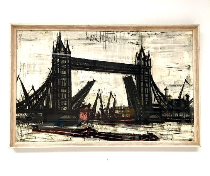 Pleasing Original 1960S Framed Print By Bernard Buffet Of London Bridge Download Free Architecture Designs Lectubocepmadebymaigaardcom
