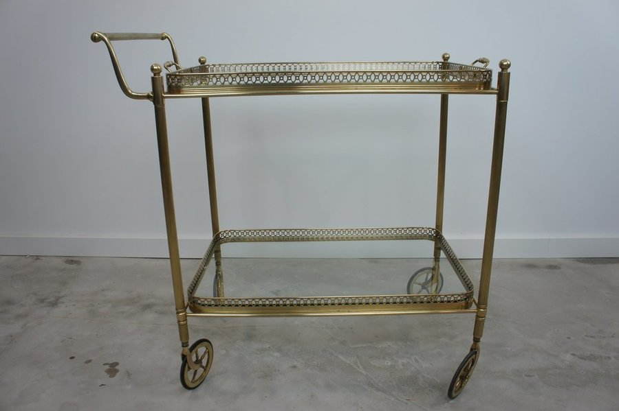 Brass And Glass Drinks Trolley