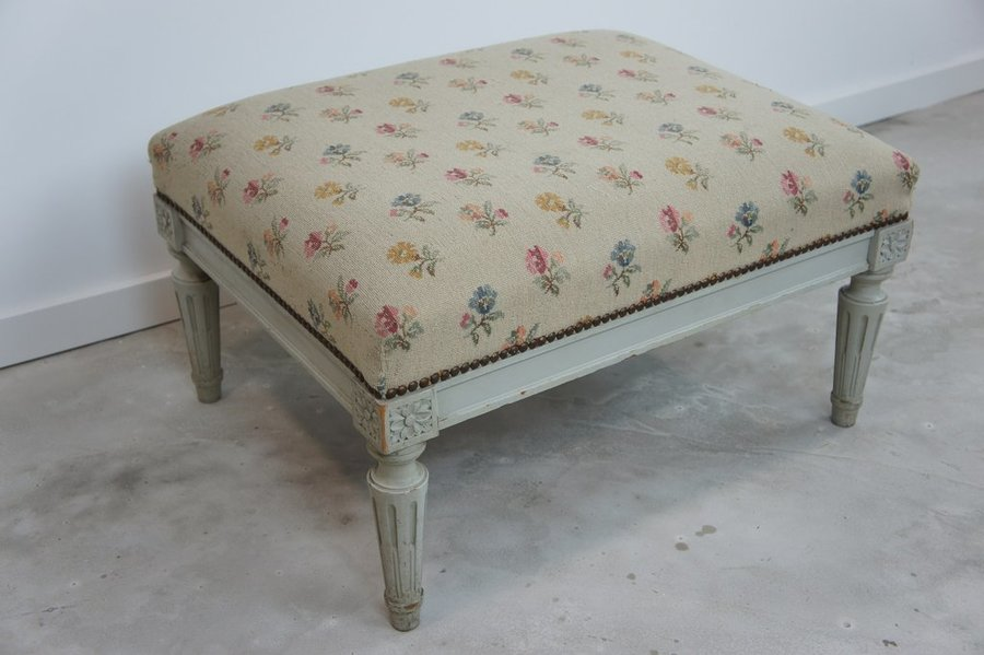 Louis Xvi Style Shabby Chic Footstool