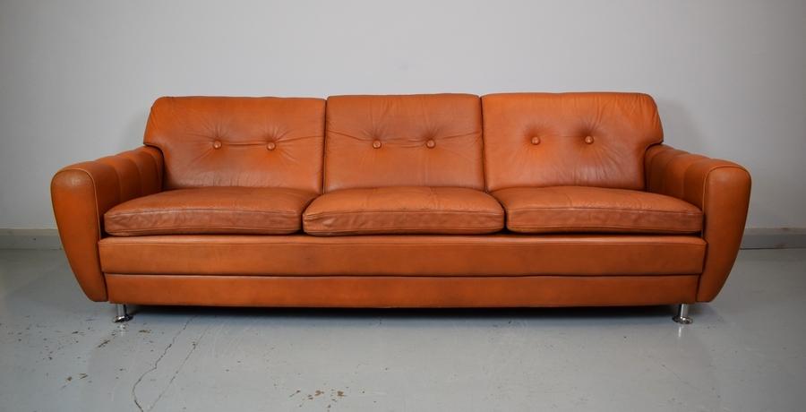 Mid Century Retro Danish Skippers Mobler Tan Brown Leather 3 Seat Sofa Settee