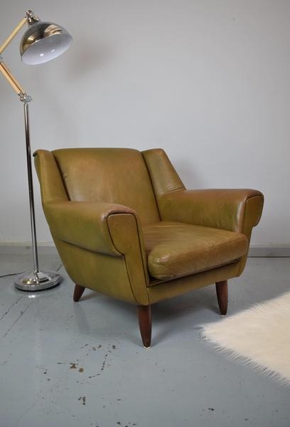 Mid Century Retro Danish Kurt Ostervig Model 61 Brown Leather Lounge Arm Chair