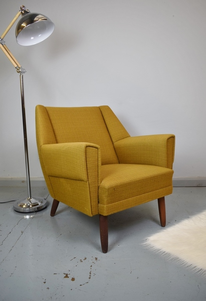 Mid Century Retro Danish Kurt Ostervig Model 54 Green Wool Lounge Arm Chair 50s