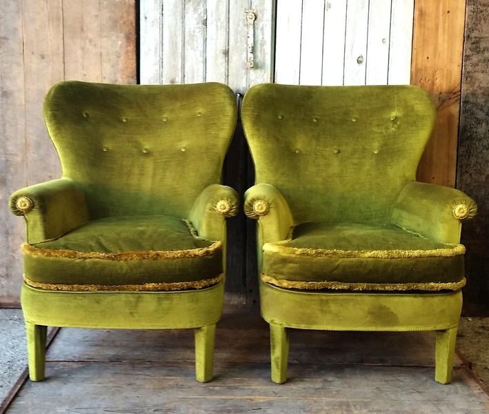 Vintage French Velvet Chairs   Pair