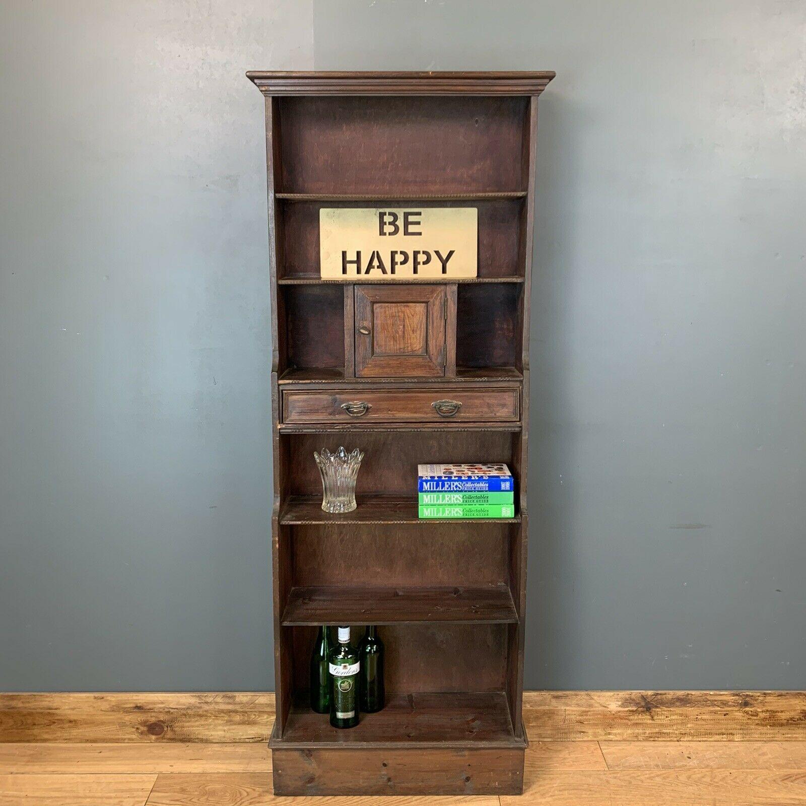 Vintage Wooden Bookcase Tall Shelving Rustic Bookshelves Tall Shelves Vinterior