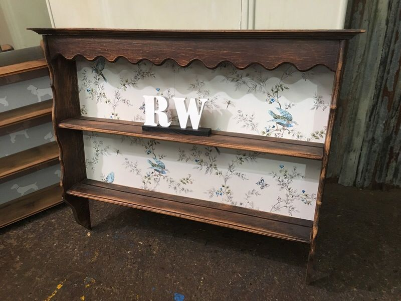 Kitchen Upcycled Vintage Wooden Solid Wall Plate Rack Rustic Shelving Unit