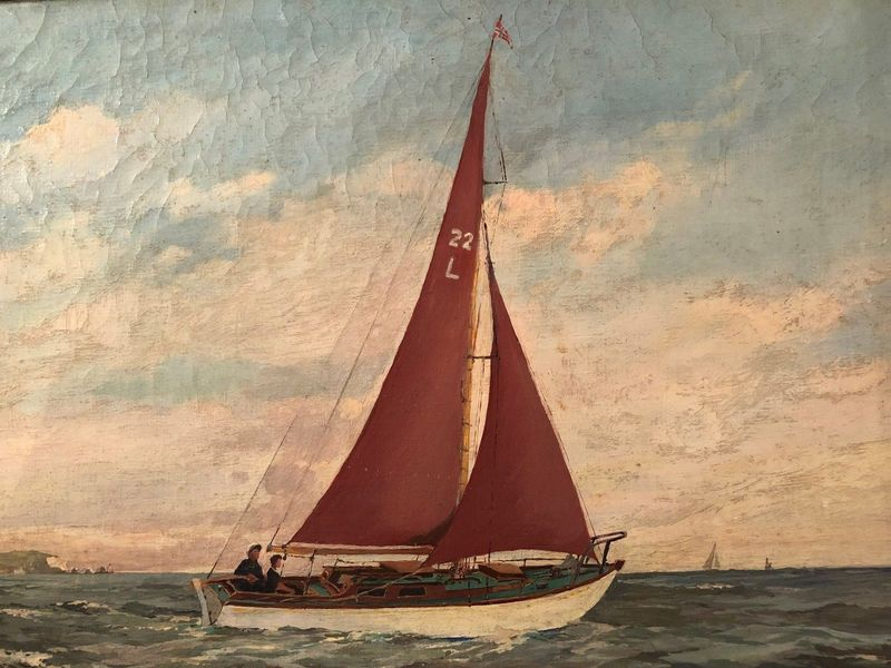Original Oil Painting On Canvas Circa 1950's Man & Boy In Sailing Boat