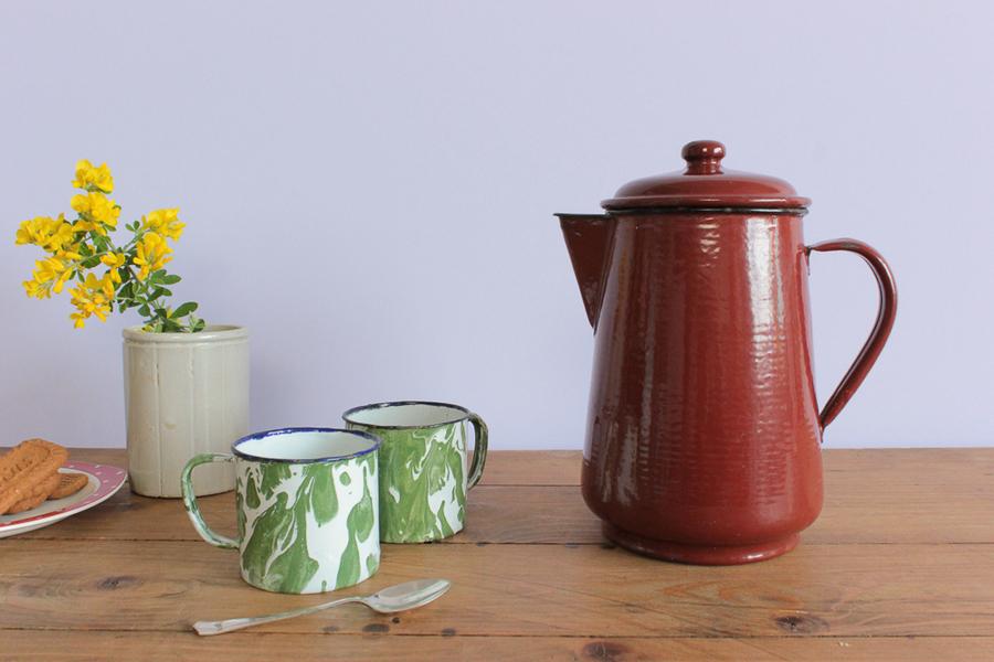 Vintage Reddish Brown Enamel Coffee Pot