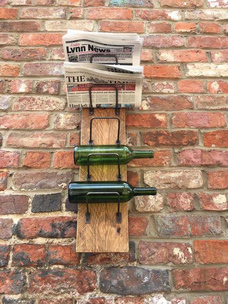 Reclaimed Wooden Pine Metal Rustic Newspaper Letter Wine Bottle Rack