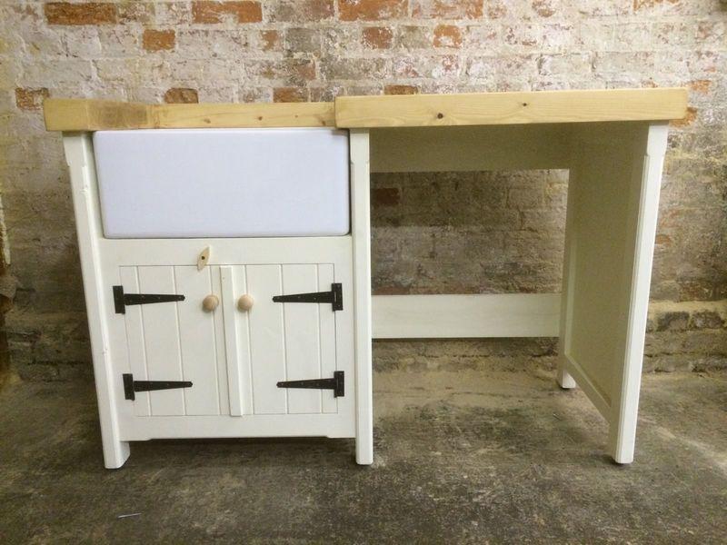 A Pine Freestanding Kitchen Belfast Butler Sink Unit Pine Top Rustic + Taps