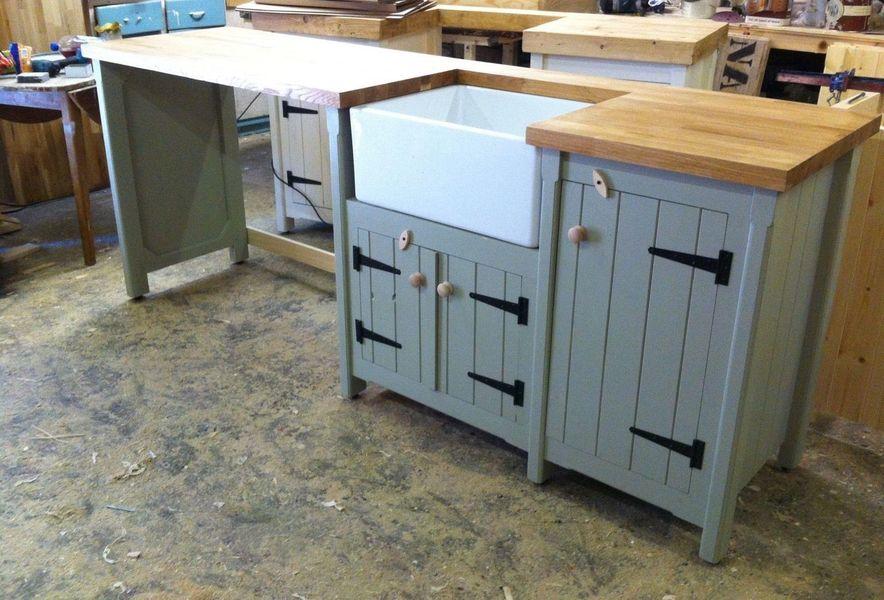 Pine Freestanding Kitchen Belfast Butler Sink Unit Oak Top Double Appliance Gap