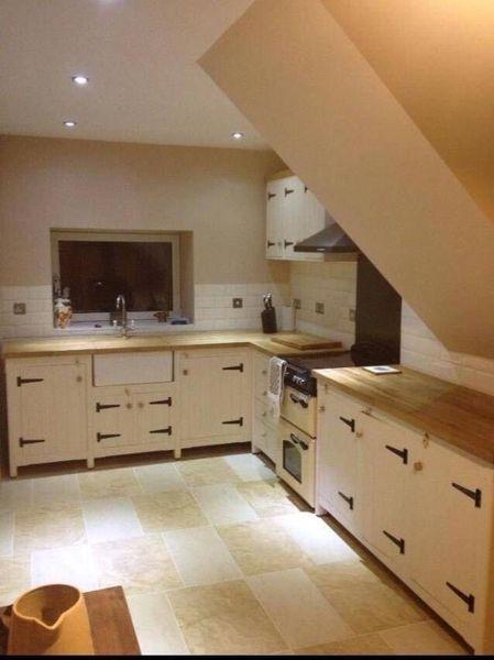 Solid Pine Freestanding Farmhouse Kitchen Belfast Butler Sink Set Up Oak Top