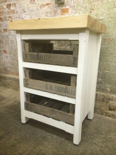 Small Kitchen Island Cupboard Drawers Butchers Block Storage Unit Rustic Pine