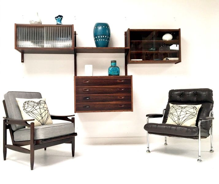 Rare Mid Century Danish Rosewood Ps Wall Modular Shelving Desk Unit Cado Heals