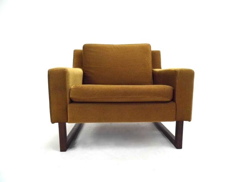 Norwegian Gold Cord & Teak Armchair Midcentury Chair 1970s