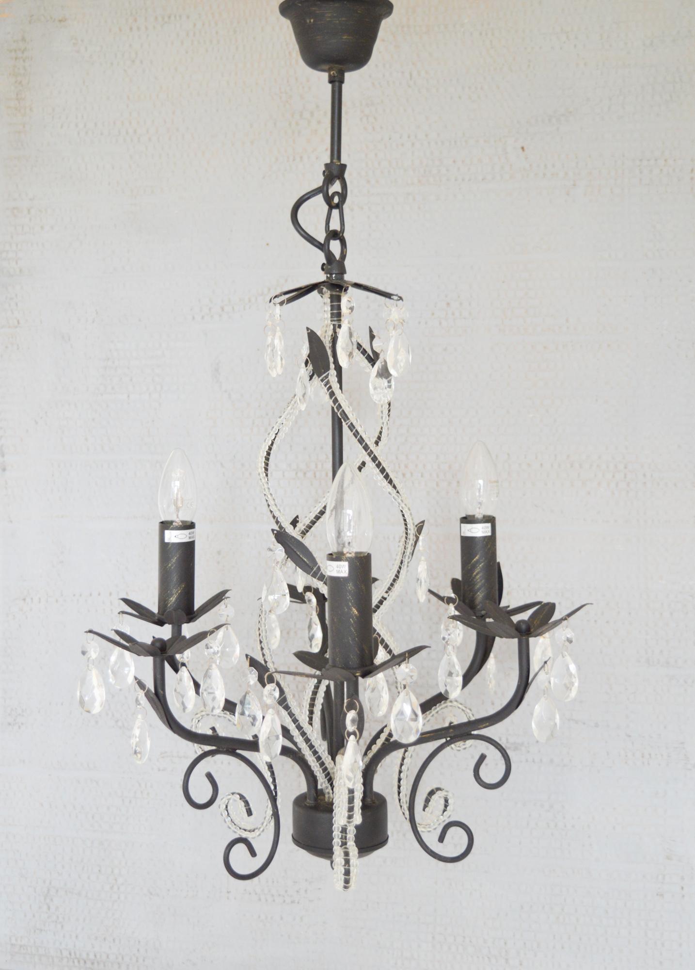 Picture of: Vintage Black 3 Arm Crystal Glass Chandelier Bhs Wavy Inner Beaded Detail Chandelier Black Metal 3 Light Ornate Chandelier Ceiling Light Bhs Vinterior