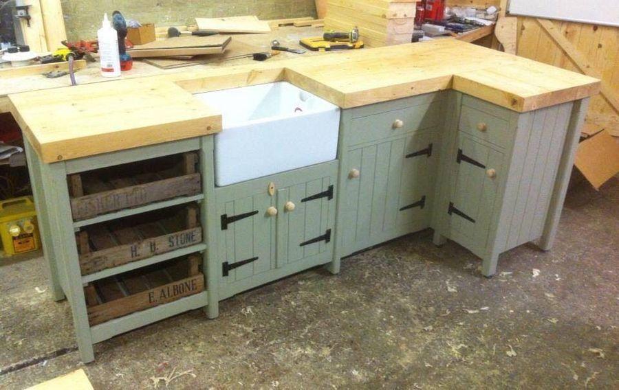 Pine Freestanding Kitchen Belfast Butler Sink