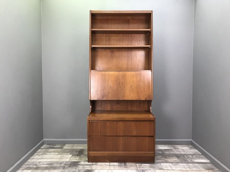 Vintage Wall Unit Retro Teak Bookcase Hifi Record Cabinet Shelf Mid Century 2