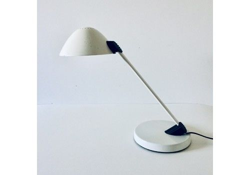 Post Modern Design White Metal Desk Lamp By Vrieland Holland 1980's