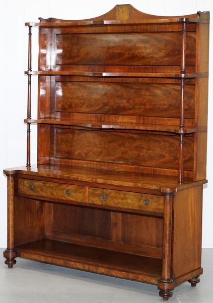 Stunning Flamed Mahogany Serpentine Fronted Bookcase With Drawers Rare Find