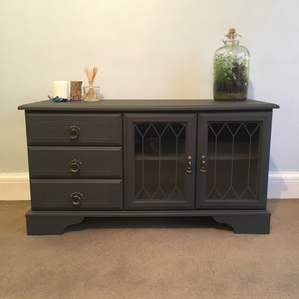 Upcycled Vintage Hand Painted Graphite Matte Black Dark Grey Gold Glass Cupboard Storage Drawers Low Cabinet Tv Unit Sideboard