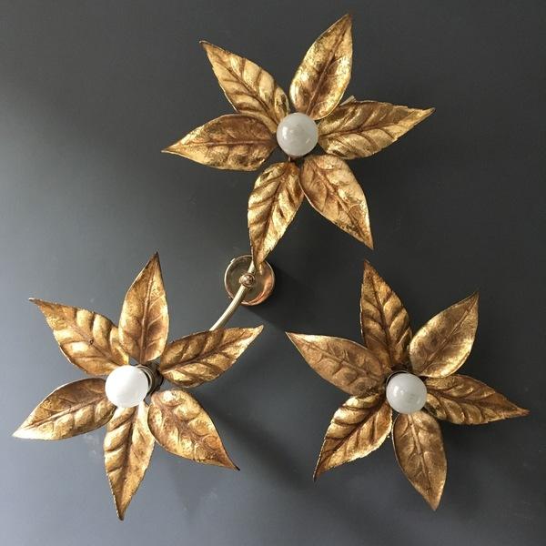 Willy Daro Style 1970's Brass Flower Lights, Set Of 3